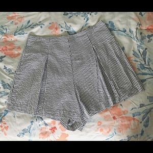 Women's Pleated and Striped Shorts
